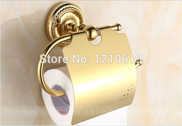 US Free Shipping Wholesale And Retail Solid Brass Toilet Paper Holder With Cover Golden Finished Tissue