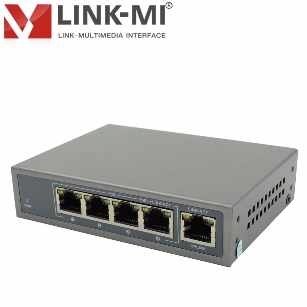 LINK-MI EC541-POE 4 Port 100M POE Switch IEEE802.3af/af POE Standard POE Switch For IP Camera Single Port 15.4W/30W cctv 4 port 10 100m poe net switch hub power over ethernet poe