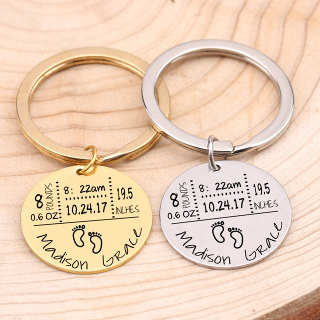 Baby Birth State Keychain Gift For First Fathers day New Mommy Gift Newborn Baby Key Pendant Women Men Key Accessories 3 Colors