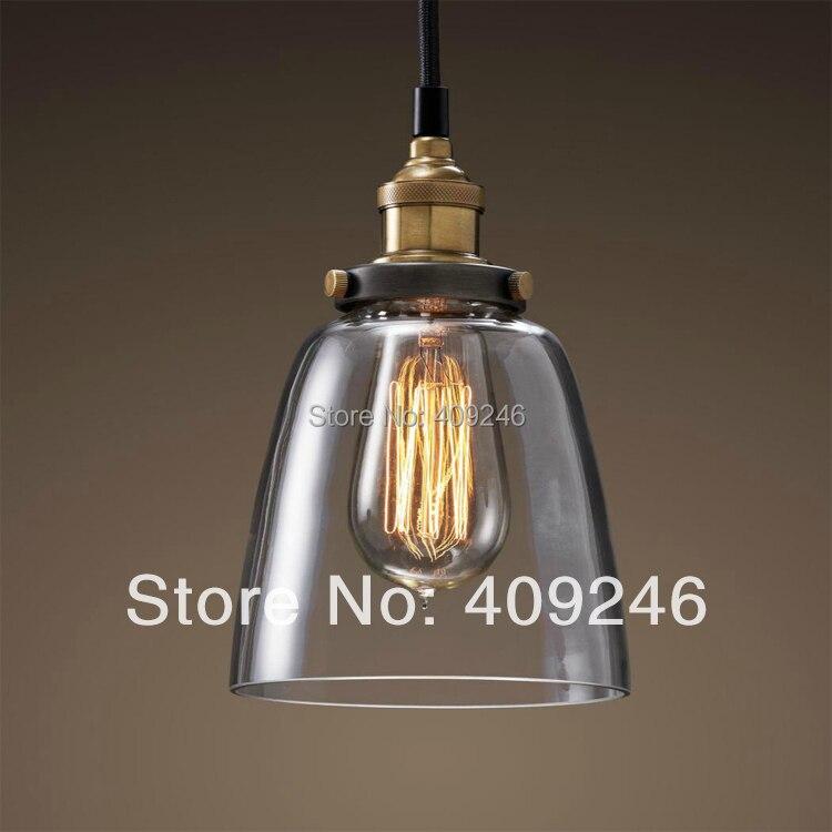 ФОТО Industrial Edison Light Mini Clear Glass  Pendant Hanging Lamp Fixture Antique Lighting
