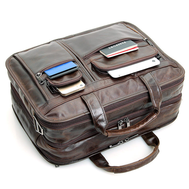 Large capacity 100 real Cow genuine Leather Laptop bag men 15 6 15 4 15 inch