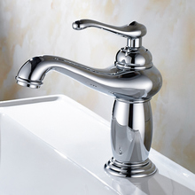 цена на Chrome Polished Basin Faucet Deck Mounted Bathroom Sink Faucet Mixer Tap Single Hole Single Handle KD1219
