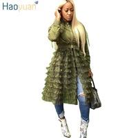 HAOYUAN Jacket Womens Clothes Korean Harajuku Bomber Jacket Full Sleeve Streetwear Fashion Autumn Army Green Hem Mesh Long Coats