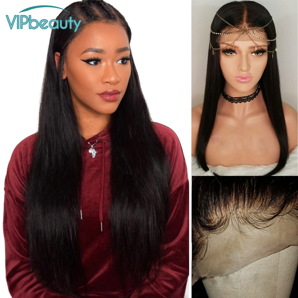 Vipbeauty 150 Lace Front Human Hair Wigs Brazilian Remy Long Straight Hair Lace Wig Pre plucked
