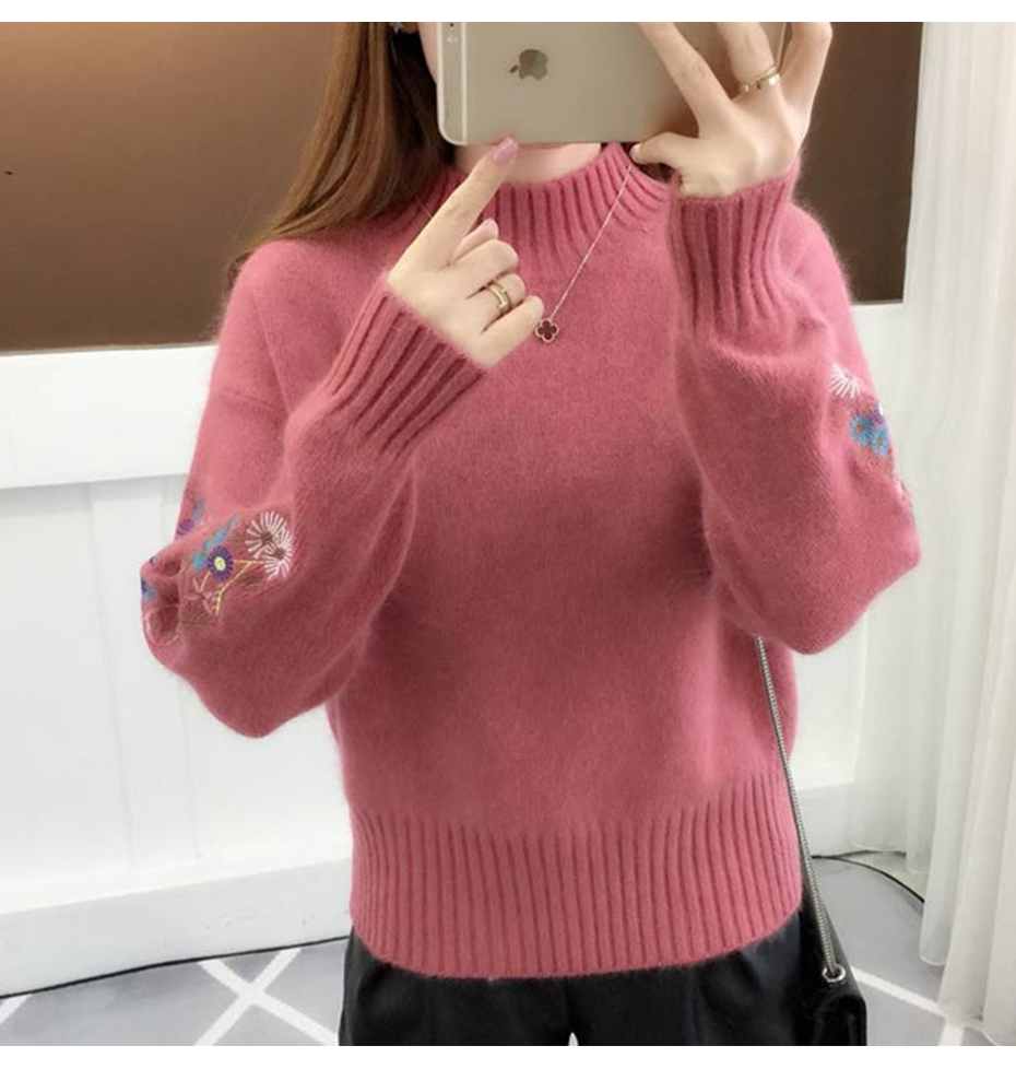 Surmiitro Cashmere Women Turtleneck 19 Autumn Winter Knitted Embroidery Jumper Women Sweaters And Pullovers Female Pull Femme 1
