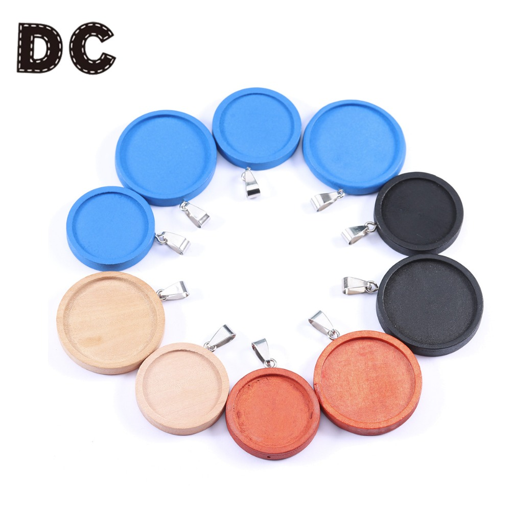 DC 8pcs round brown wood cabochon base settings 25 30mm dia blank pendant trays diy jewelry bezels for necklace making in Jewelry Findings Components from Jewelry Accessories
