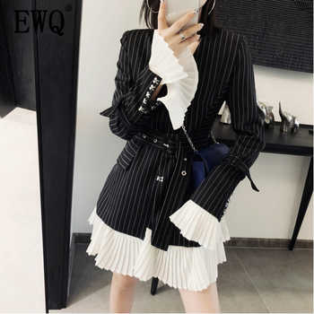 [EWQ] 2019 Spring New Pattern V-collar Long Sleeve Striped Patchwork Adjustable Waist High Street Coat Women AE90801L - DISCOUNT ITEM  53% OFF All Category