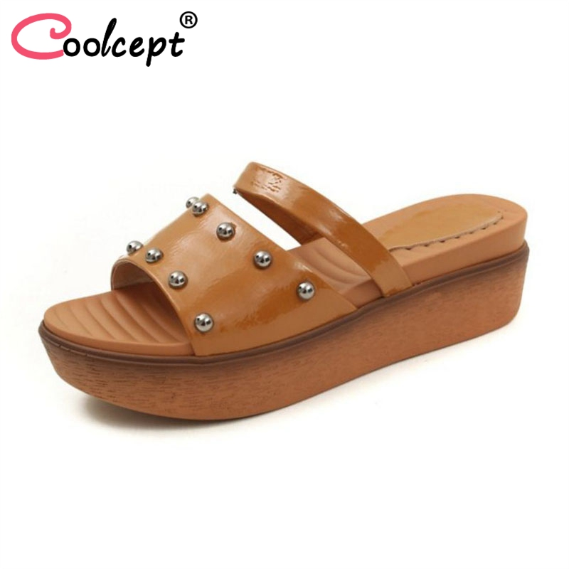 Coolcept Fashion Women Patent Leather Wedges Sandals Open Toe Rivet Slippers Summer Holiday Shoes Women Footwear Size 34-39 women in the summer of 2018 the new patent leather nude wedges pointed toe pump work shoes leisure women plus size 35 40 a23