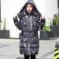 XL para 4XL do hoodie longo Wide-cintura padrão de Caracteres mulheres grossas para baixo casaco 2017 moda jaqueta de inverno feminino preto Casaco Parkas