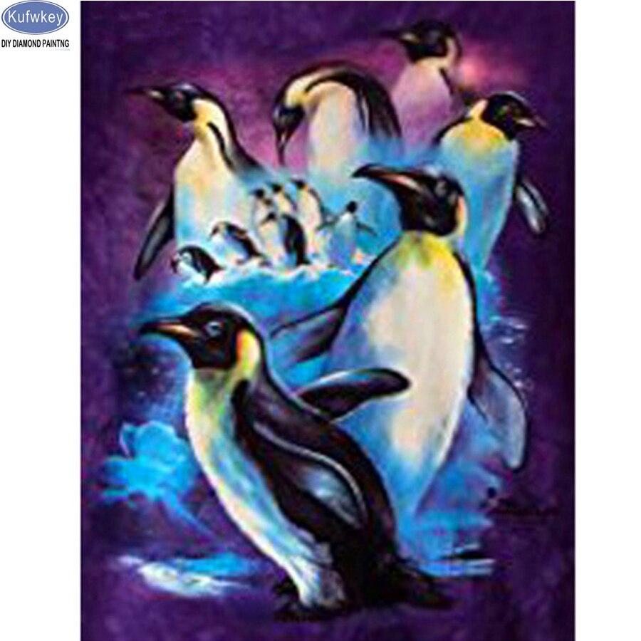Kufwkey DIY 5D Diamant Peinture Point De Croix Kits pingouin Diamant Mosaïque Plein de Diamants Broderie diamant Modèles Stickers muraux