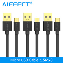 цена на AIFFECT 3Pieces 150CM Fast Charging Micro USB Cable Mobile Phone Micro B to Sync USB Data Cable For Samsung HTC Android
