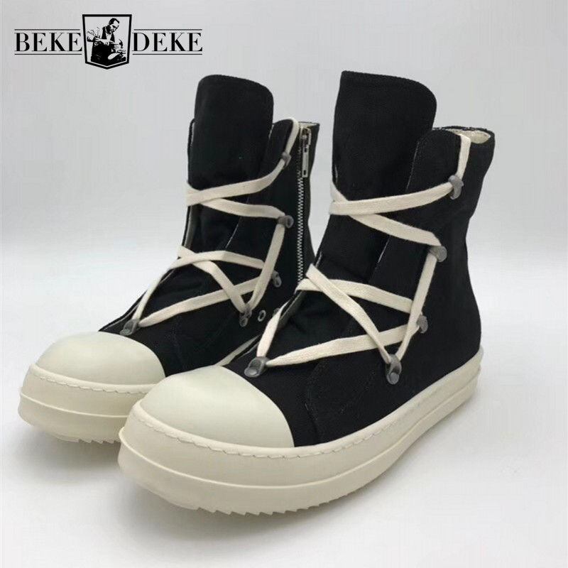 High Top Canvas Shoes Men Luxury Brand Trainers Casual Ankle Platform Boots Zip Combat Work Army