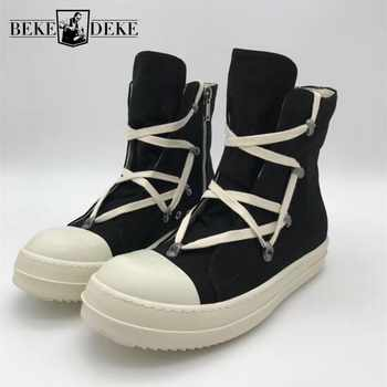 High-Top Canvas Shoes Men Luxury Brand Trainers Casual Ankle Platform Boots Zip Combat Work Army Boots Plus Size Winter Sneakers - DISCOUNT ITEM  51 OFF Shoes