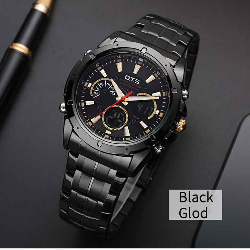 все цены на  OTS Luxury Brand Watch Men Business Casual Quartz watch Full Steel Military Sports watches relogio masculino Men's Wristwatches  в интернете
