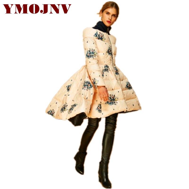 Ymojnv Style Haute Femme Porter Printing D'hiver Manteaux Chaude Col 2018 Veste Taille Neige Longue Jupe Montant De Nouvelle Impression Mode Femmes Parka r4qrxXf0