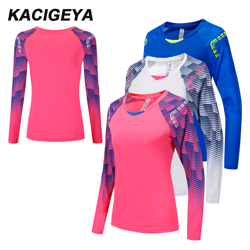 Women Long Sleeves Shirts Print Breathable Sportwear Gym Tops Yoga Running Football Jacket Sport Dry Quick Tee 2018 New Shirts