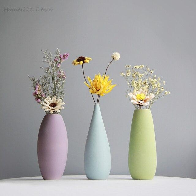 Minimalist Solid Color Flower Vase Colorful Ceramic Flower Vase