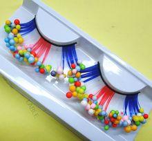 1 pairs  color dot beads child colorful multicolor exaggerated false eyelashes, false eyelashes artistic costumes CP02