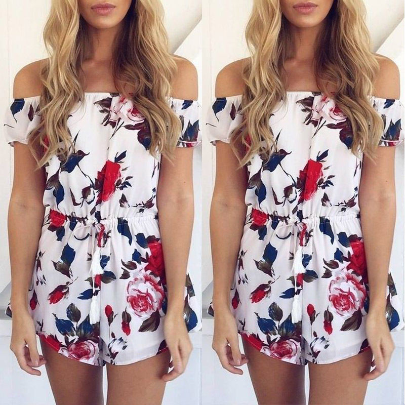 2020 Summer Sexy Women Clubwear Floral Off Shoulder Beach Playsuit Party Jumpsuit Romper Short Trousers