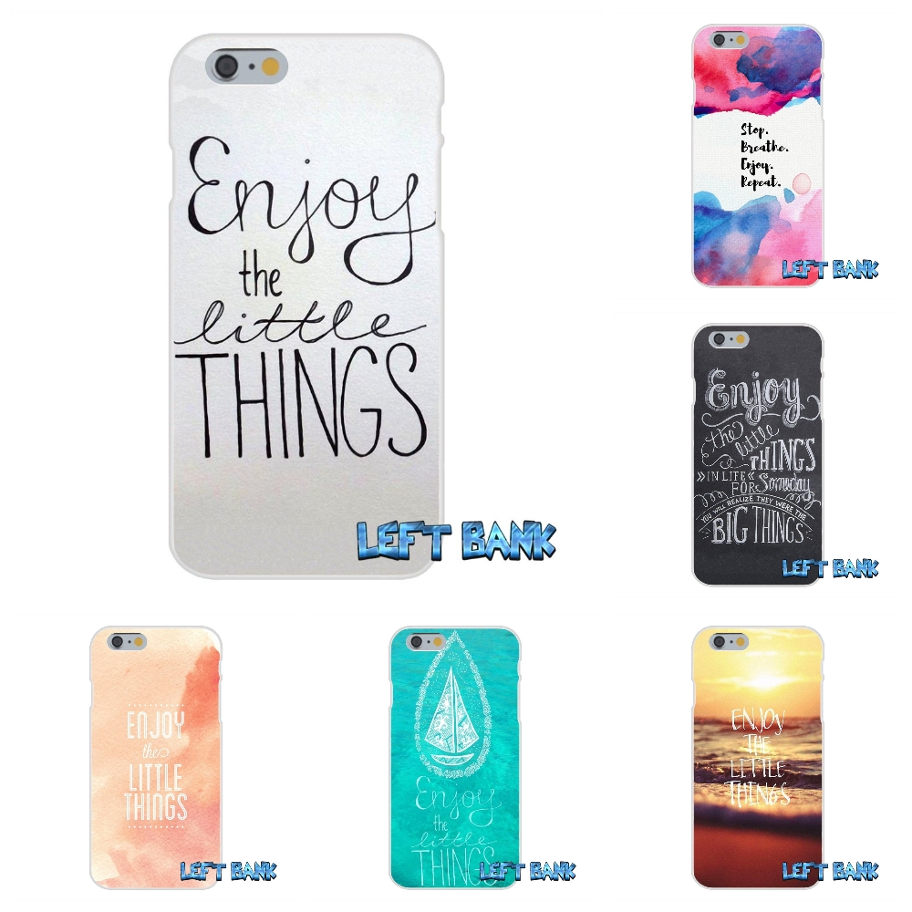 For iPhone 4 4S 5 5S 5C SE 6 6S 7 Plus Enjoy The Little Things Greatest Soft Silicone TPU Transparent Cover Case