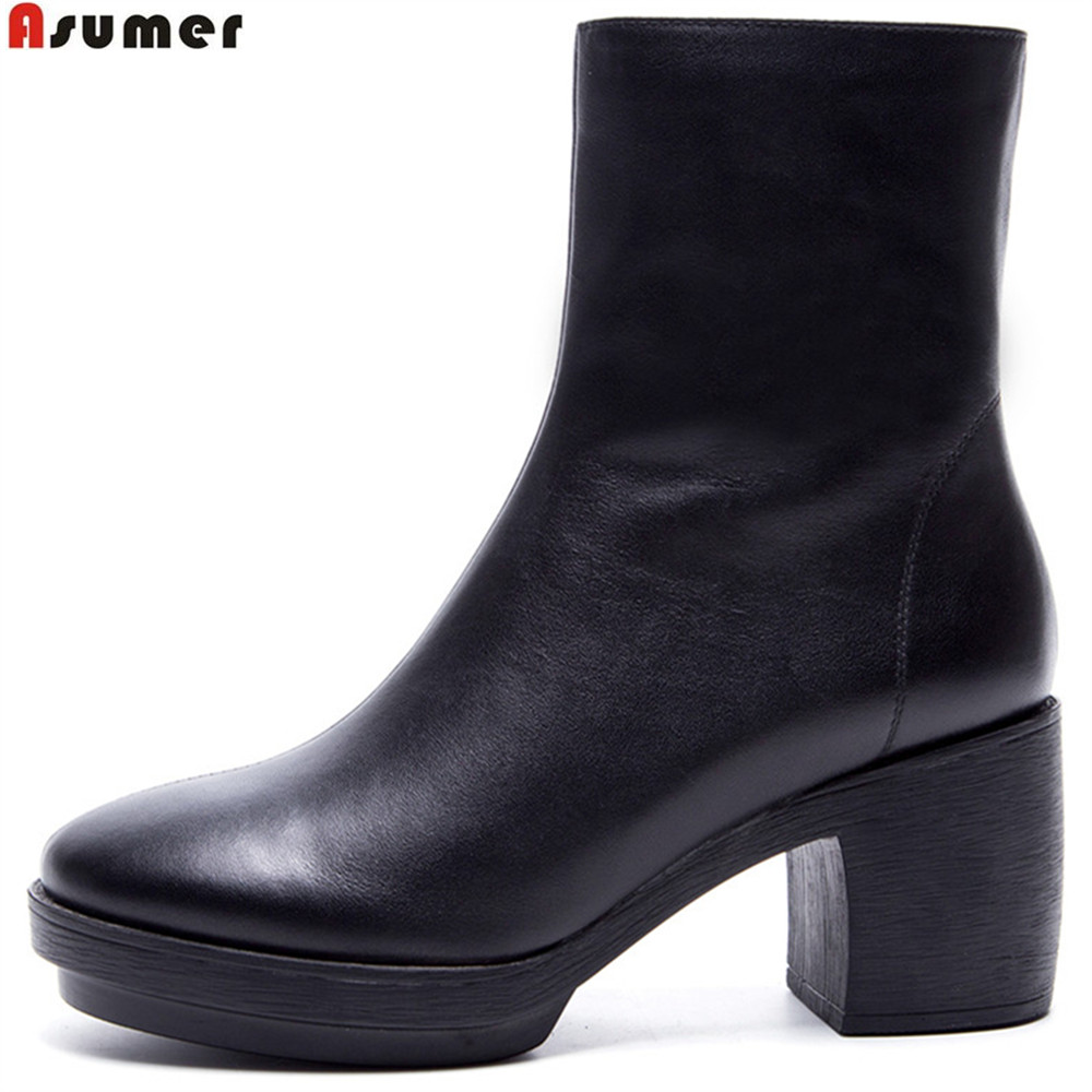 Asumer black fashion women boots round toe ladies genuine leather boots zipper square heel cow leather ankle boots asumer black white fashion new women boots pointed toe genuine leather boots zipper cow leather ankle boots low heel shoes