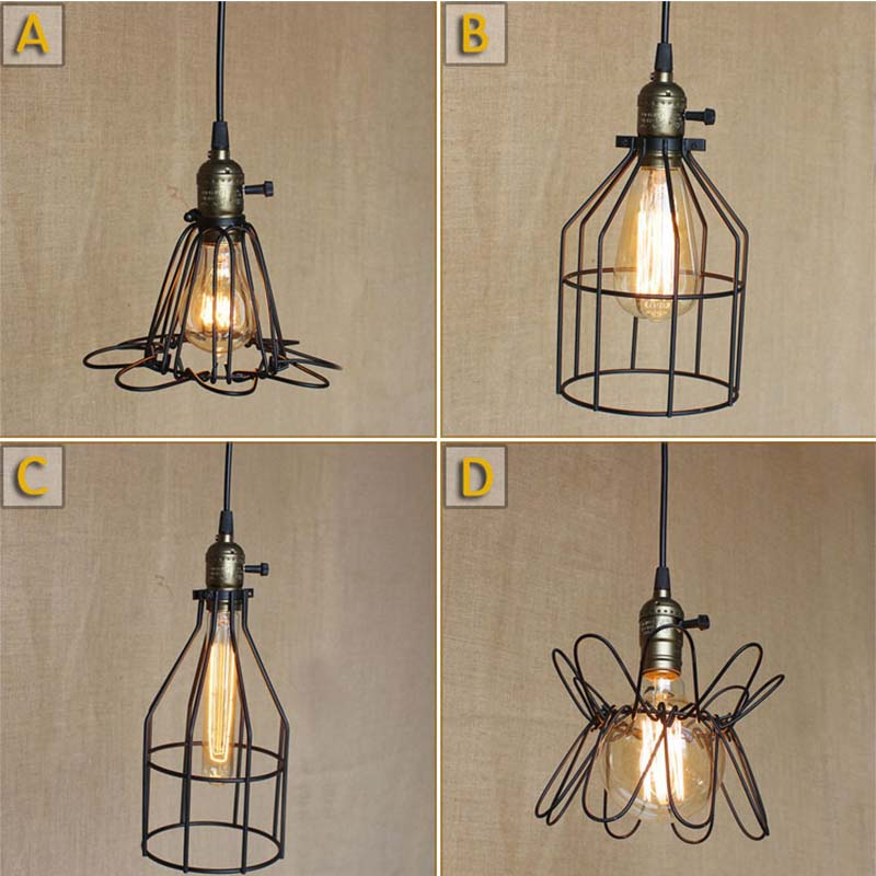 Vintage Iron Pendant Light Industrial Loft Retro Droplight Bar Cafe Bedroom Restaurant American Country Style Hanging Lamp loft iron pendant light indutrial vintage loft bar cafe restaurant nordic country style birdcage pendant lights hanging lamp