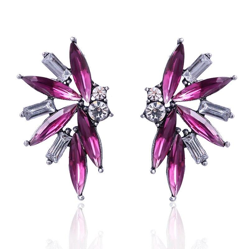 1 Paar Bunte Kristall Opal Stein Winkel Flügel Stud Ohrringe Silber Überzogene Strass Dekoration Piercing Ohrringe Frauen Schmuck