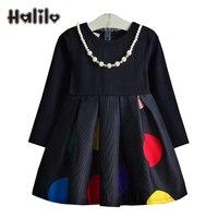Halilo Girls Long Sleeve Dress Children Clothing Casual Girls Polka Dot Dresses Spring Autumn Toddler Girl
