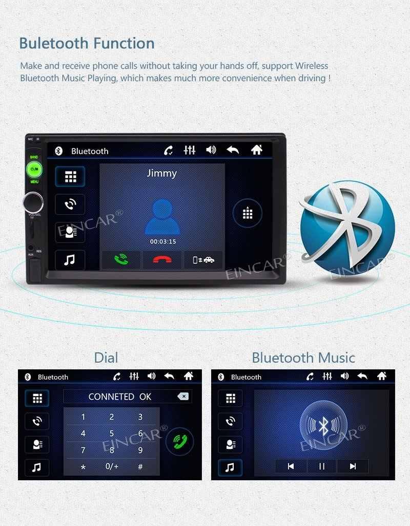 EinCar 7 ''двойной Din Bluetooth автомобильный стерео радио MP5 плеер Автомобильный мультимедийный Bluetooth громкой связи USB/FM/TF Aux вход + задняя камера