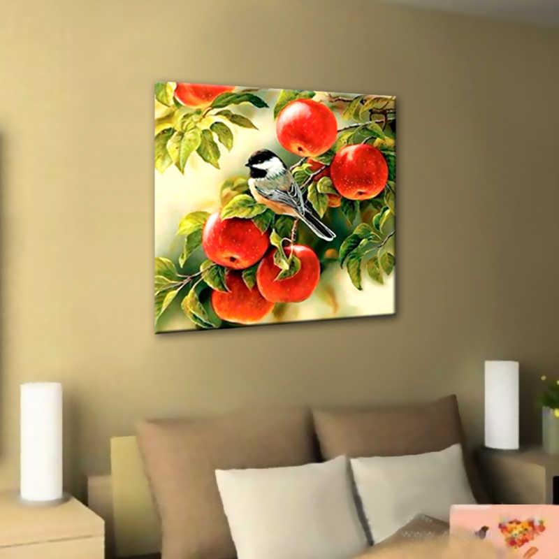 Bricolage 5D diamant mosaïque diamant peinture point de croix Kit oiseau et fruits complet rond diamants broderie maison décoration cadeau