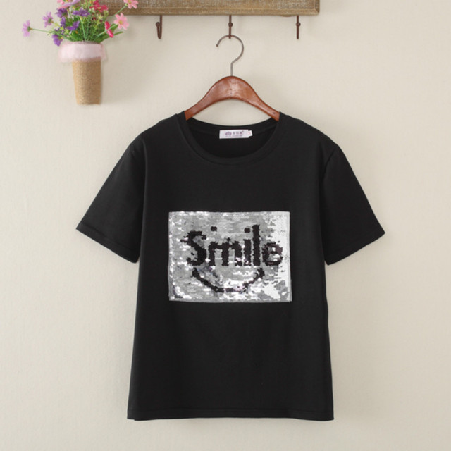 5d5f5da11 Creative Graffiti Reversible Sequins Letters Smile beads Shirt magical  color changing sequins Tees T-shirt Discoloration Tops