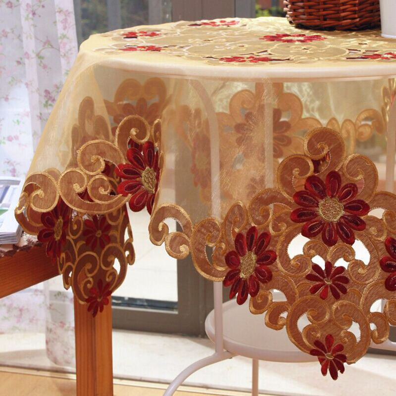 European embroidery table cloth round for christmas lace for Transmutation table 85 items