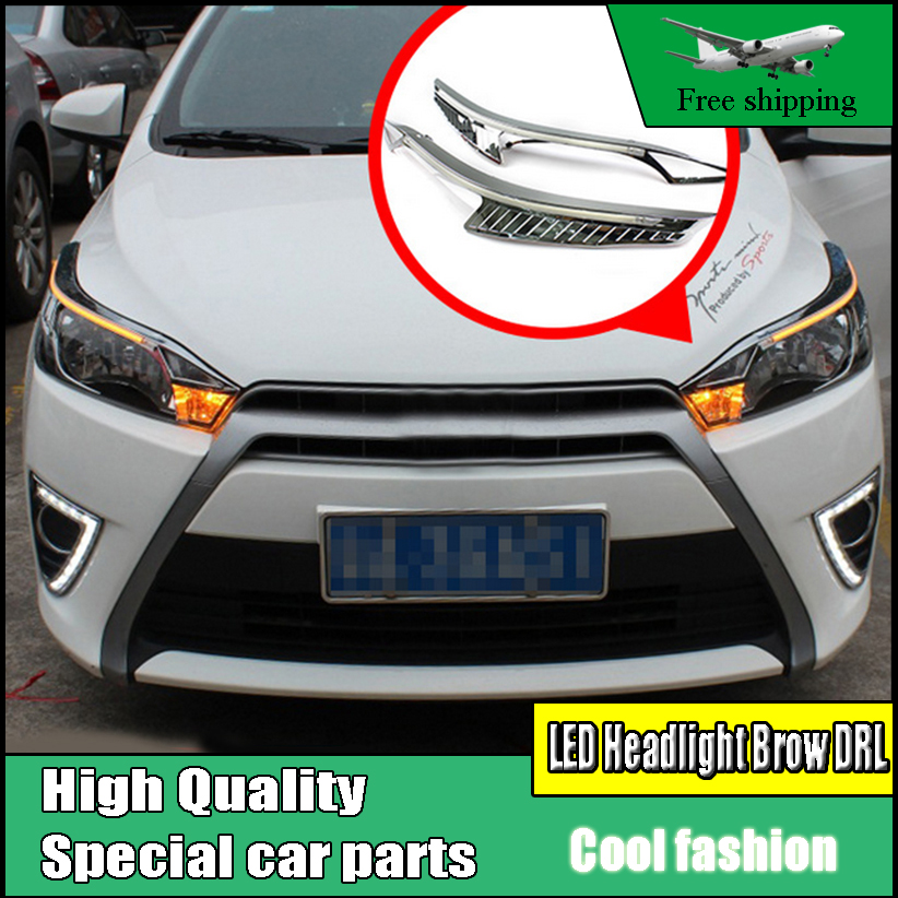 Car Styling LED Headlight Brow Eyebrow Daytime Running Light DRL With Yellow Turn signal Light For Toyota yaris 2014 2015 2016 car styling auto headlight headlamp for toyota corolla 2013 2014 2015 bifocal lens guiding light best quality daytime running