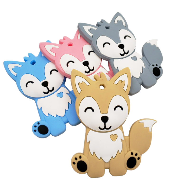 Baby Silicone Teethers BPA Free Toddle Teething Toys Cartoon Animal Baby Teether Silicone Beads DIY Chew Necklace Nursing Tool