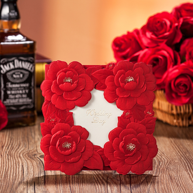Free Shipping Red Rose Wedding Invitations Invitation Card Wishmade Convite Casamento Supplies Cw5032
