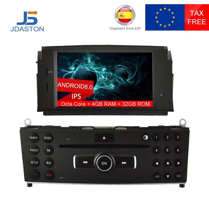 JDASTON 1 DIN Android 8.0 lecteur DVD de voiture pour Mercedes Benz C200 C180 W204 2007-2010 WIFI multimédia GPS Radio 4G + 32G Octa cœurs