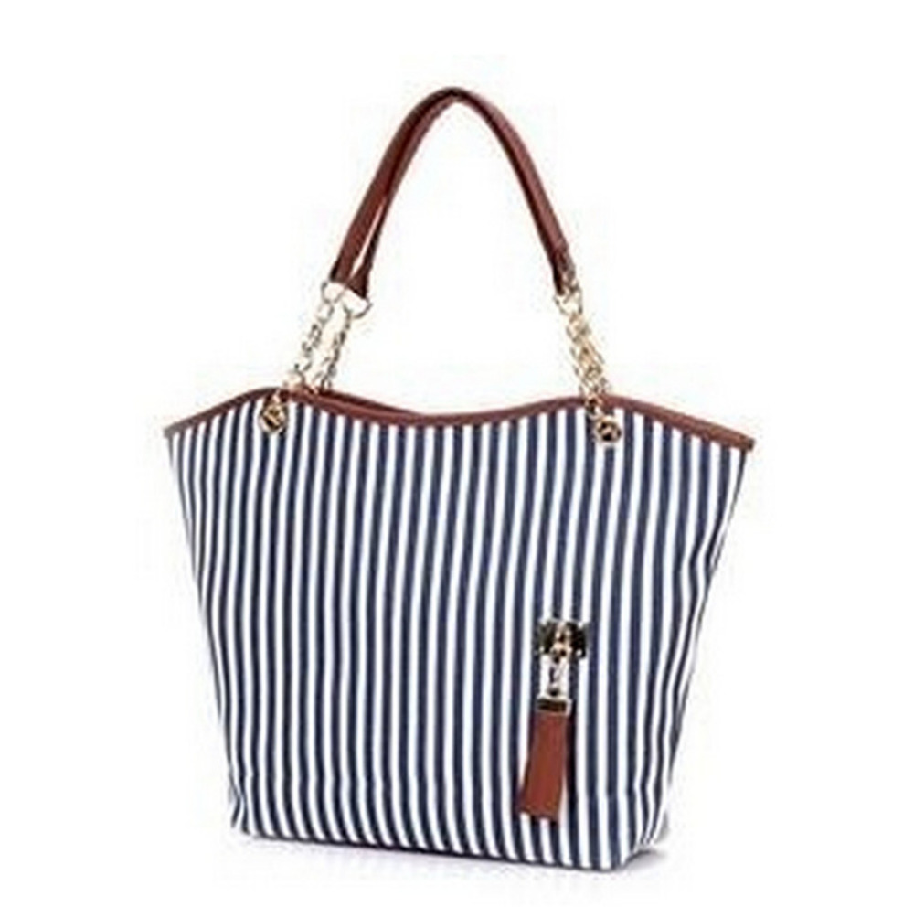 Striped Casual Tote Women Canvas Handbag Casual Single Shoulder Shopping Bags Beach Zipper Large Bag Sac A Main Bolsa women s casual tote female shopping bag ladies single shoulder handbag simple beach bag sacoche baobao bags for women on sale