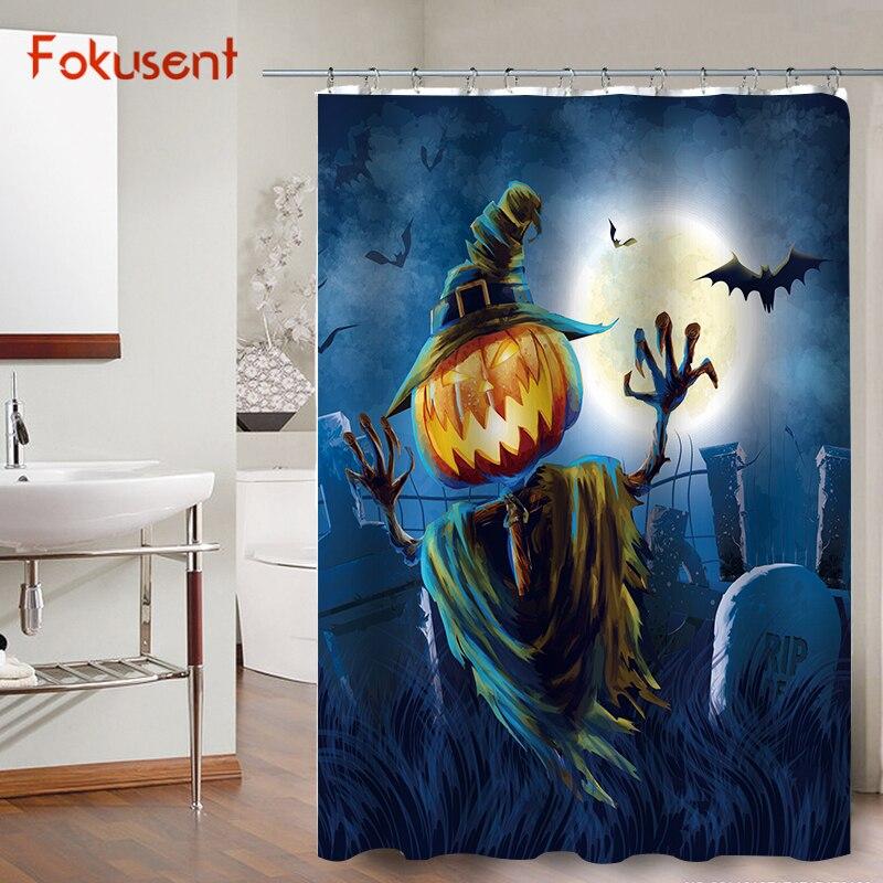 FOKUSENT Halloween Shower Curtain Horror Pumpkin Face Bats