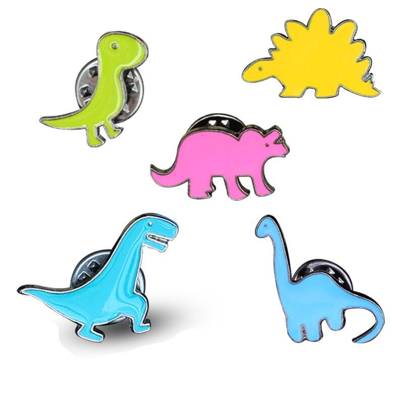 Brooches Cartoon Colorful Dinosaur Apatosaurus Stegosaurus Brooch Pins Diy Button Pin Denim Jacket Pin Badge Gift Jewelry Wide Selection;
