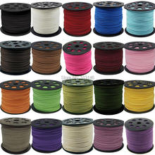 """3 мм 90 м Плетенный, макраме кожаных шнуров из искусственной замши, """"сделай сам"""" для Бисер браслет ювелирных изделий на плоской подошве веревочная нить"""