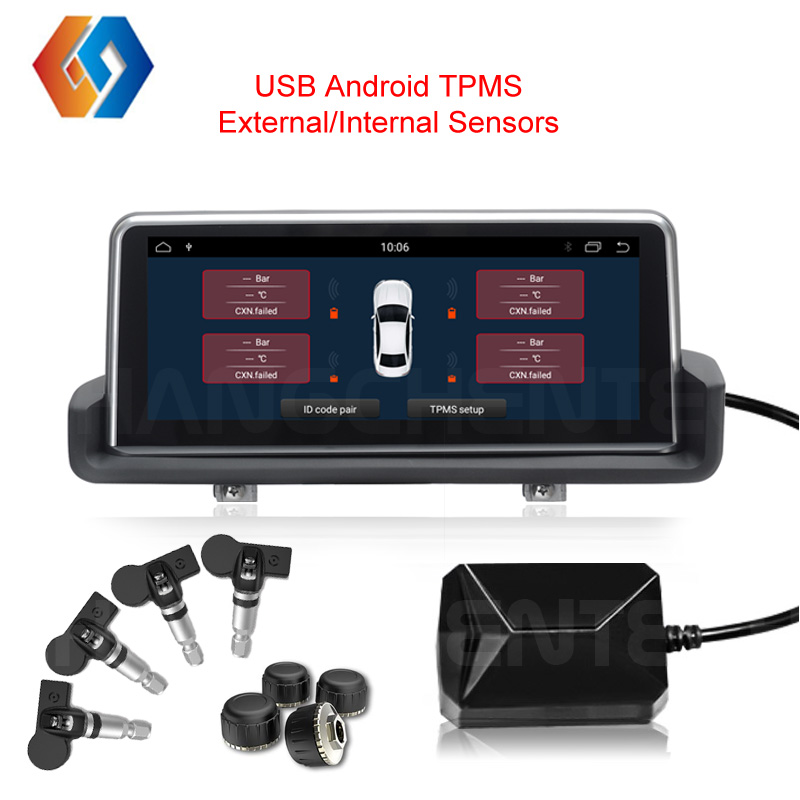 2019 Android TPMS Car USB Tire Pressure Internal or External Sensitive Sensors with Wireless Transmission Alarm