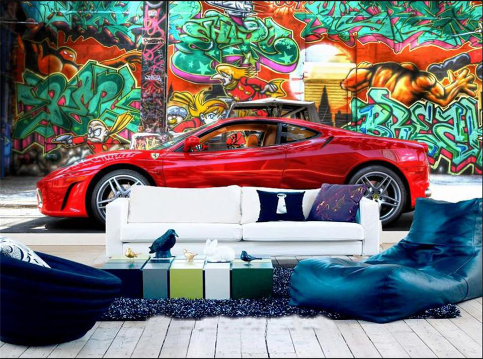 где купить 3d wallpaper photo wallpaper custom living room mural graffiti car 3d painting bar or KTV sofa background wallpaper for walls 3d по лучшей цене