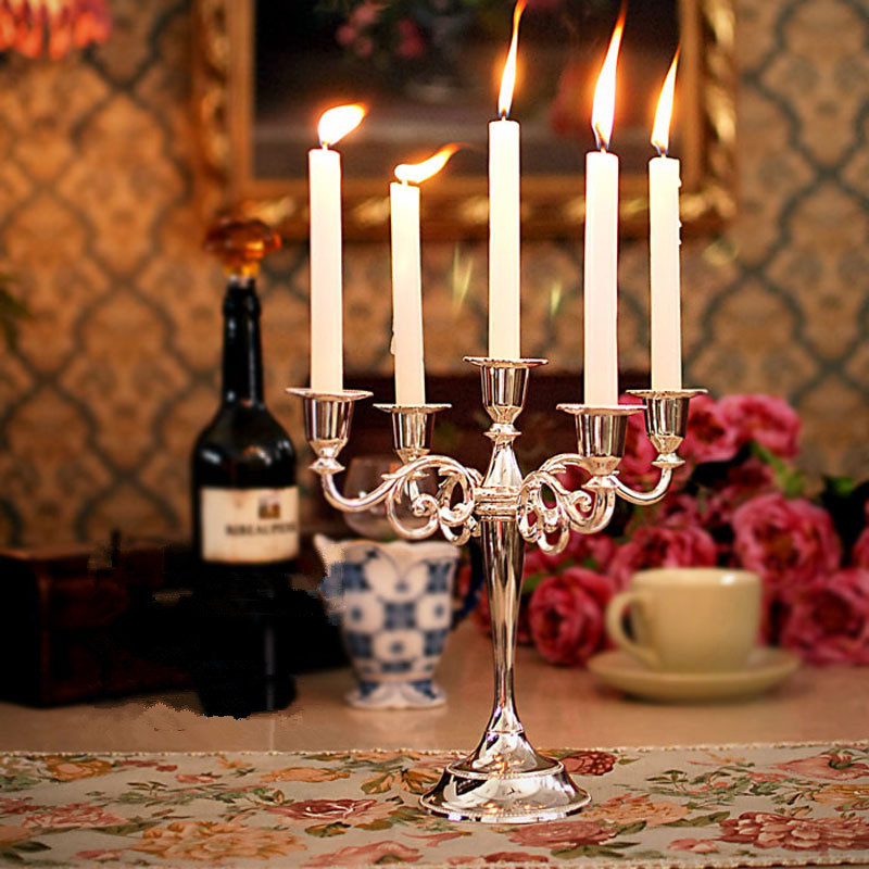 New Arrival Silver Gold Bronze Color 3 & 5 Arms Candelabra Taper Candle Holders Chandeliers Wedding Centerpieces