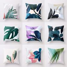 Green Leaves Cushion Cover Tropical Plants Summer Fresh Decorative Pillow Case Home Decor Soft Covers for Sofa Living Room 45x45 цены
