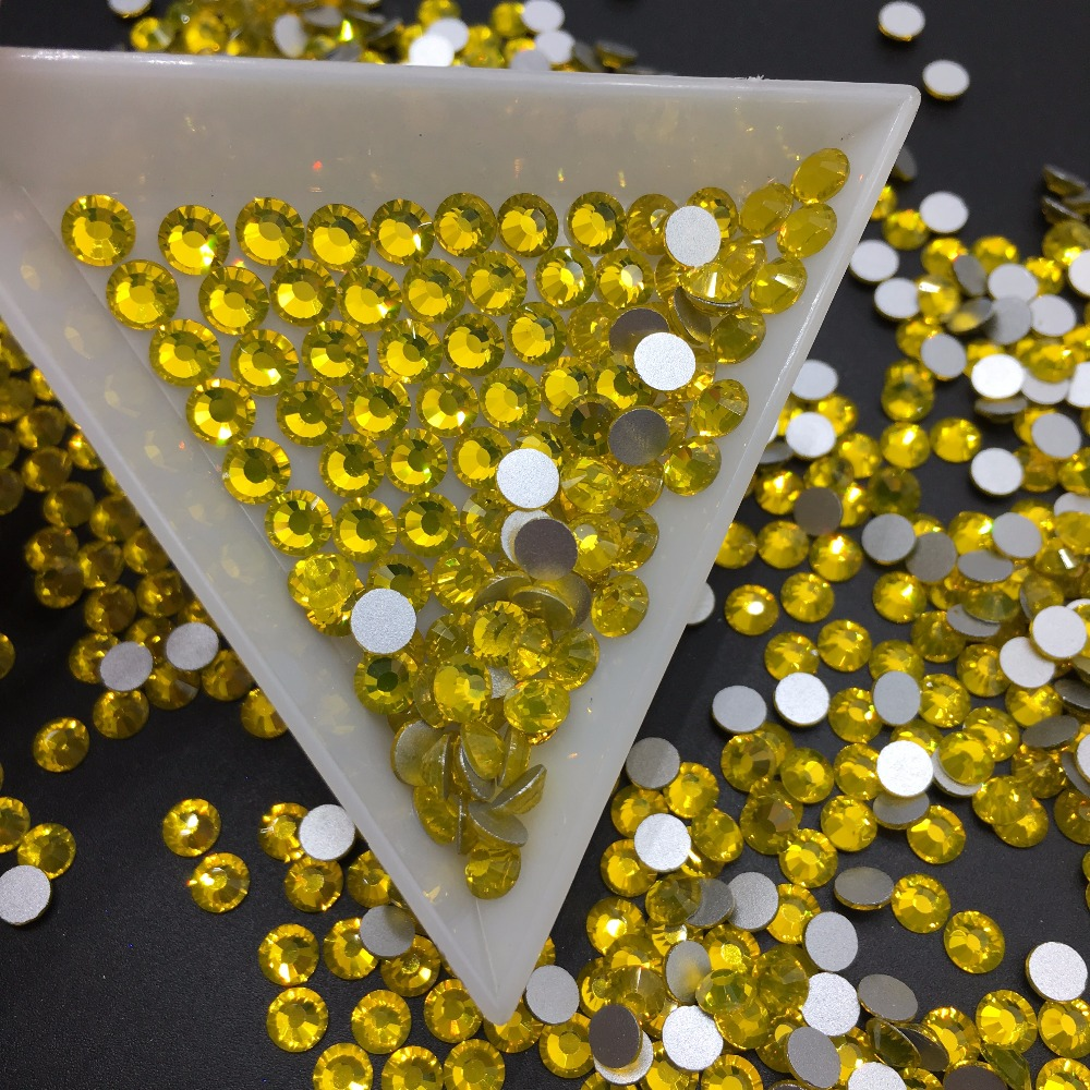 Good Quality Citrine Flat Back DIY Strass Crystal ss3 ss34 Non HotFix Nail Art Flatback Rhinestones for Clothes Decorations in Rhinestones from Home Garden