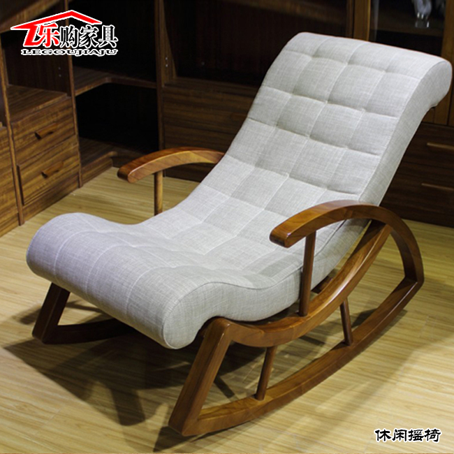 Outdoor balcony wood rocking chair recliner happy household .