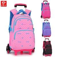 Hot Sale Girls Cartoon Style Wheeled Backpack School Bag Arrival Waterproof Trolley Case Schoolbag Girl Travel Luggage Suitcase