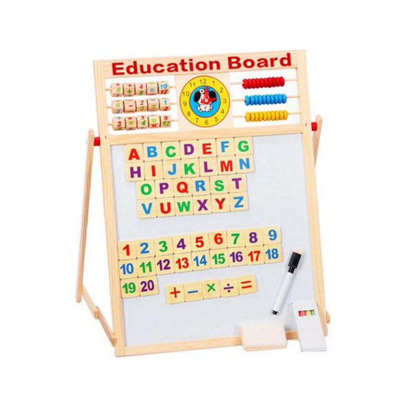 Durable Kids Wooden Drawing Easel Toy Children Double Sided Magnetic Jigsaw Puzzles Writing Blackboard Whiteboard Toddler цена