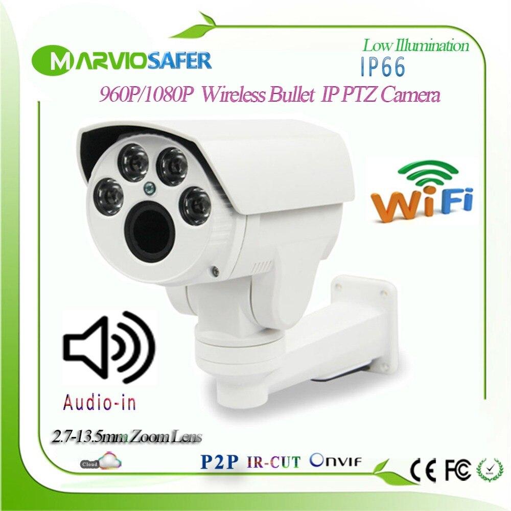 Hi3516C 1080 p FULL HD Audio Bullet Extérieure wifi PTZ Caméra IP 2.7-13.5mm 5X Zoom Objectif Motorisé onvif RTSP TF Carte D'enregistrement