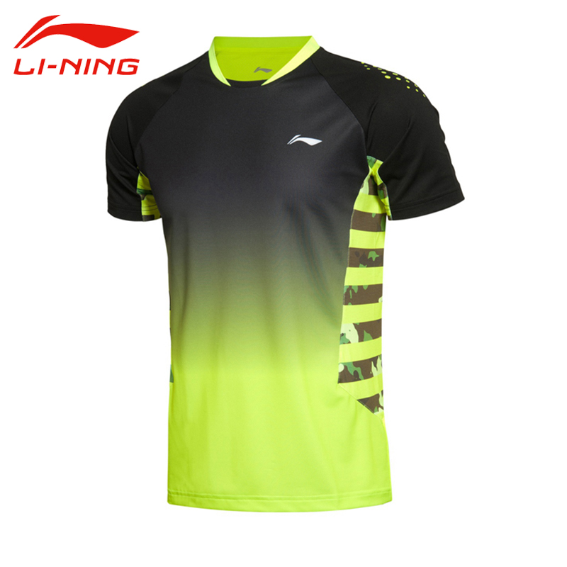 Li-Ning Men's Professional Badminton Jersey Breathable Gradients Color Quick Dry Short Li Ning Sleeve Sports Jersey AAYK291
